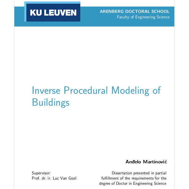 Doctoral Thesis: Inverse Procedural Modeling of Buildings
